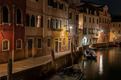 Night view of canal in Venice, Italy. Architecture and landmarks of Venice. Night life of Venice. Venice postcard with Stock Images