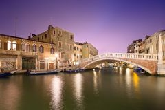 Night view of canals in Venice Royalty Free Stock Image