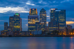 Night view of Canary Wharf, London, UK Stock Photo