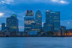 Night view of Canary Wharf, London, UK. LONDON, UK - AUGUST 22, 2015: Night view of Canary Wharf, a major business district located in London, UK. It's a home to Stock Images