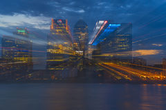 Night view of Canary Wharf, London, UK Stock Photos