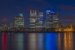 Night view of Canary Wharf, London, UK Stock Image