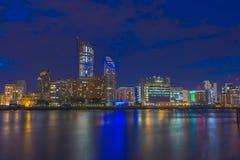 Night view of Canary Wharf, London, UK Royalty Free Stock Photo