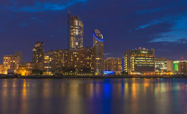 Night view of Canary Wharf, London, UK Stock Photography