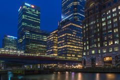 Night view of Canary Wharf, London, UK Royalty Free Stock Images