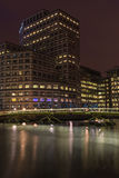 Night view of Canary Wharf, London, UK Royalty Free Stock Image