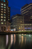 Night view of Canary Wharf, London, UK Royalty Free Stock Photo
