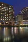 Night view of Canary Wharf, London, UK Stock Photo