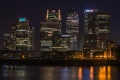 Night view of Canary Wharf, London, UK Stock Images