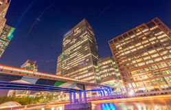 Night view of Canary Wharf skyscrapers, London - UK Stock Image