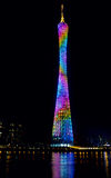 Night view of the Canton Tower, Guangzhou, China. Beautiful and colourful view of the Canton Tower at night with reflection in the water stock images