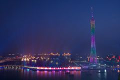 Night View of Canton Tower in Guangzhou China stock image