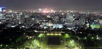 Panoramic cityscape of Jakarta at nigh stock photo