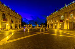 Night view of Capitoline Hill, statue Marcus Aurelius in Rome Royalty Free Stock Photography