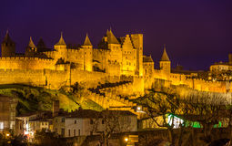 Night view of Carcassonne fortress - France Royalty Free Stock Photo