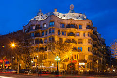 Night view of Casa Mila  in Barcelona Royalty Free Stock Photography