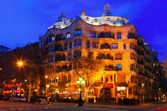 Night view of Casa Mila  in Barcelona Royalty Free Stock Images
