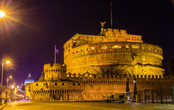 Night view of Castel Sant'Angelo in Rome Stock Photos