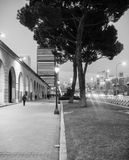 Night view of the Castellana street, Nuevos Ministerios Madrid Royalty Free Stock Photo
