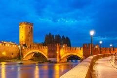 Night view of Castelvecchio in Verona, Italy. Stock Images