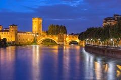 Night view of Castelvecchio in Verona, Italy. Stock Photo