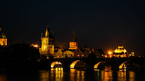 Night view of Castle and Charles Bridge and Vltava river, Prague, Czech Republic Royalty Free Stock Photography