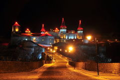 Night view of the castle Kamyanets-Podilsky Stock Photo