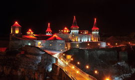 Night view of the castle Kamyanets-Podilsky Stock Photography