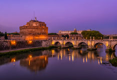 Night view of Castle Sant Angelo Mausoleum of Hadrian, bridge Sant Angelo and river Tiber in Roma Stock Images