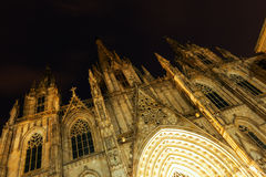 Night view of Catedral de Barcelona Royalty Free Stock Image