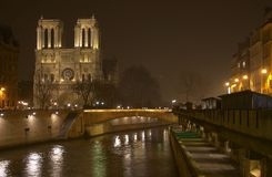 A night view of Cathédrale Notre Dame de Paris‎. A night view of Notre Dame Cathedral and the Sena river in Paris Royalty Free Stock Photo