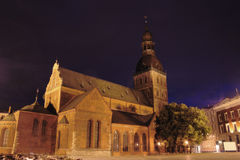 Night view of cathedral stock photo
