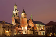 Night view of the cathedral in Krakow Royalty Free Stock Photo