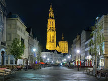 Night view of the Cathedral of Our Lady in Antwerp, Belgium Stock Photos