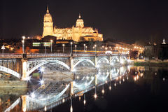 Night view of the Cathedral of Salamanca Stock Photos