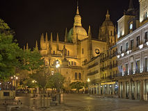 Night view of  Cathedral   in Segovia Stock Photography