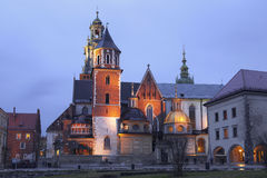 Night view of the cathedral of St Stanislaw and St Vaclav and Royal Castle on the Wawel Hill Royalty Free Stock Photography
