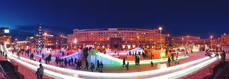 Night view at the center of the Chelyabinsk city in winter time. Panorama view of the Chelyabinsk city at winter time Stock Photos