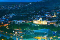 Night view of center Tbilisi city. Georgia Royalty Free Stock Photos