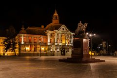 Town square and statue of King Petar Karadjordjevic, Zrenjanin Royalty Free Stock Photography