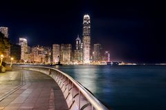 Night view of Central Plaza, Hong Kong Central Business District Stock Photo