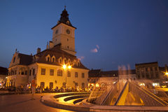 Night view of the central square of Brasov Stock Image