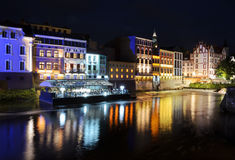 Night view on the centre of Opole city, and Odra river Stock Image