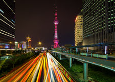 Night view of Century Avenue and the Oriental Pearl Tower Stock Photo