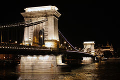 Night view of Chain Bridge. Budapest Royalty Free Stock Image
