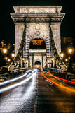 Night view of The Chain Bridge, Budapest. Highway and arc architecture of the Chain Bridge at night in Budapest, capital of Hungary Stock Photography