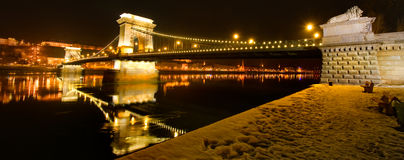 Night view of chain Bridge in Budapest, Hungary Royalty Free Stock Image
