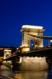 Night view of chain bridge in Budapest, Hungary Stock Image