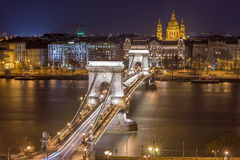 Night View of the Chain Bridge and church St. Stephen's Basilica royalty free stock image