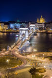 Night View of the Chain Bridge and church St. Stephen's Basilica Stock Photos